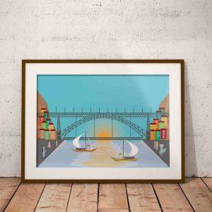 Rio Douro, a ponte Luís I e os barcos rabelos.
