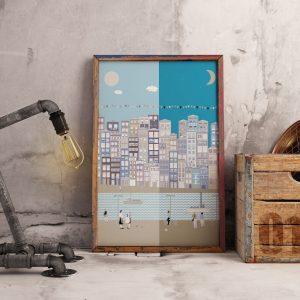 Poster com ilustração da Ribeira da cidade do Porto
