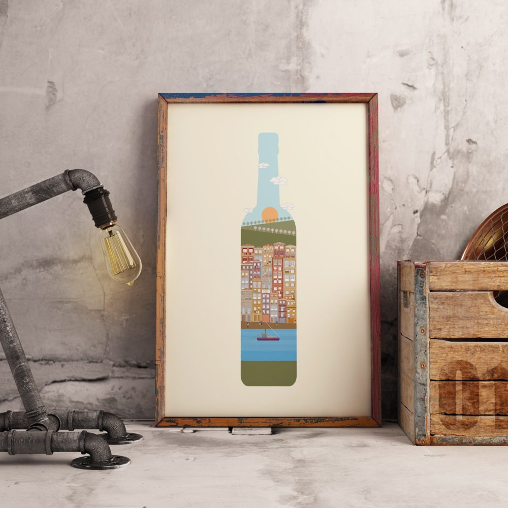 Poster com ilustração de ícones da cidade do Porto dentro de uma Vinho do Porto
