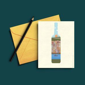 Postal com ilustração de ícones da cidade do Porto . Vinho do Porto