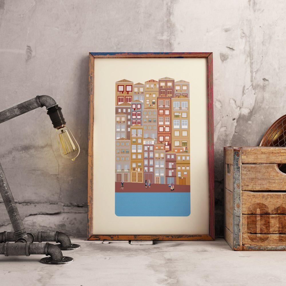Poster com ilustração da Ribeira do Douro