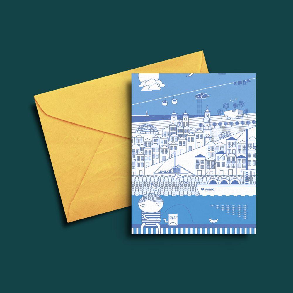 Postal com ilustração de ícones da cidade do Porto