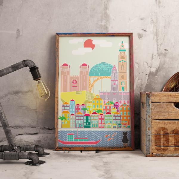 Poster com ilustração do skyline da cidade do Porto com o Rio Douro