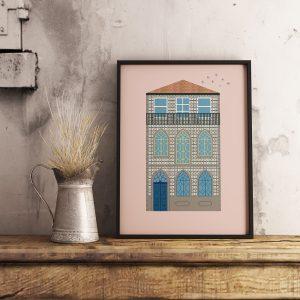 Poster com ilustração de fachada de casa na Foz