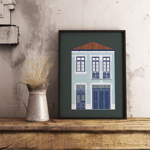 Poster com ilustração de uma fachada de uma casa na cidade do Porto