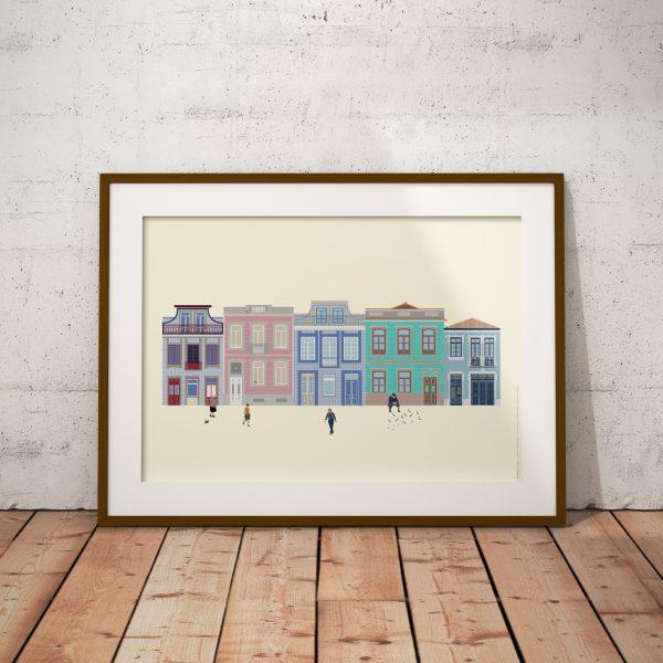Ilustração figurativa de uma rua típica portuguesa com fachadas de casas no Porto, formando um conjunto arquitectónico variado.