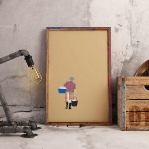 Lavadeira: Poster com ilustração das gentes portuguesas