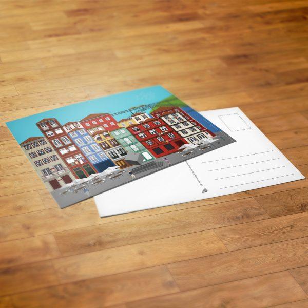 Postal com ilustração do Cubo da Ribeira no Porto