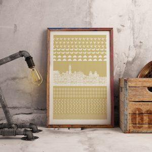 Poster com ilustração de ícones da cidade do Porto